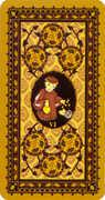 Six of Coins Tarot card in Medieval Cat Tarot deck