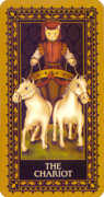 The Chariot Tarot card in Medieval Cat Tarot deck