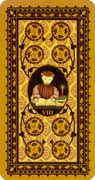 Eight of Coins Tarot card in Medieval Cat Tarot deck