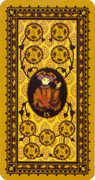 Nine of Coins Tarot card in Medieval Cat Tarot deck