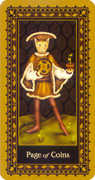 Page of Coins Tarot card in Medieval Cat Tarot deck