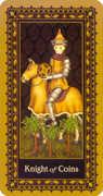 Knight of Coins Tarot card in Medieval Cat Tarot deck