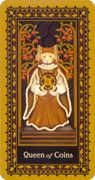 Queen of Coins Tarot card in Medieval Cat Tarot deck