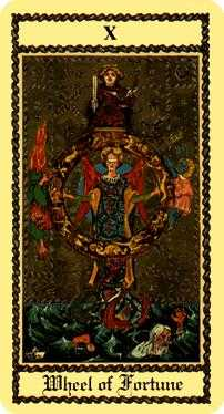 The Wheel of Fortune Tarot Card - Medieval Scapini Tarot Deck