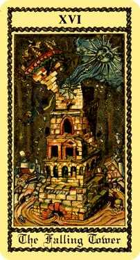 The Falling Tower Tarot Card - Medieval Scapini Tarot Deck