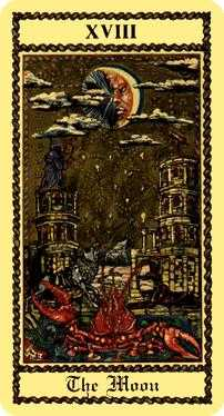 The Moon Tarot Card - Medieval Scapini Tarot Deck