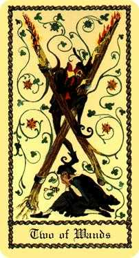 Two of Staves Tarot Card - Medieval Scapini Tarot Deck