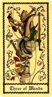 Three of Staves Tarot Card - Medieval Scapini Tarot Deck