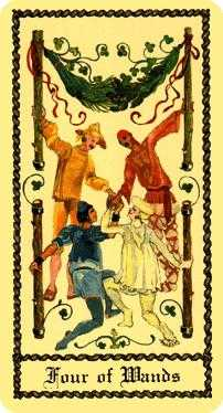Four of Batons Tarot Card - Medieval Scapini Tarot Deck