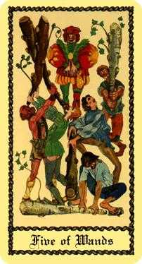 Five of Staves Tarot Card - Medieval Scapini Tarot Deck