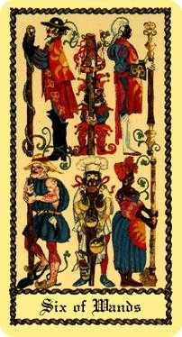Six of Staves Tarot Card - Medieval Scapini Tarot Deck