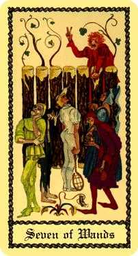 Seven of Pipes Tarot Card - Medieval Scapini Tarot Deck