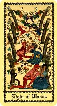 Eight of Staves Tarot Card - Medieval Scapini Tarot Deck