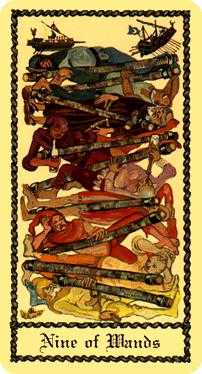 Nine of Batons Tarot Card - Medieval Scapini Tarot Deck