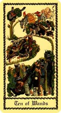 Ten of Batons Tarot Card - Medieval Scapini Tarot Deck