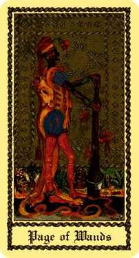 Page of Staves Tarot Card - Medieval Scapini Tarot Deck