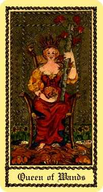 Queen of Batons Tarot Card - Medieval Scapini Tarot Deck