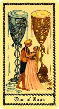Two of Cups Tarot Card - Medieval Scapini Tarot Deck