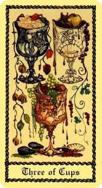 Three of Cups Tarot Card - Medieval Scapini Tarot Deck
