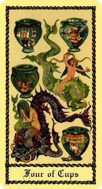 Four of Cauldrons Tarot Card - Medieval Scapini Tarot Deck