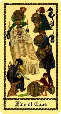 Five of Bowls Tarot Card - Medieval Scapini Tarot Deck