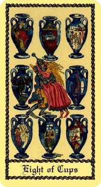 Eight of Bowls Tarot Card - Medieval Scapini Tarot Deck