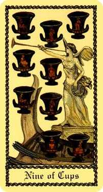 Nine of Bowls Tarot Card - Medieval Scapini Tarot Deck