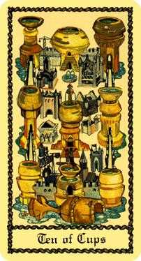 Ten of Cups Tarot Card - Medieval Scapini Tarot Deck