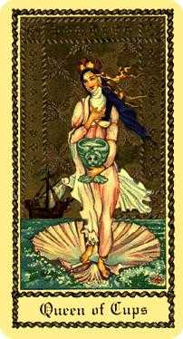 Queen of Bowls Tarot Card - Medieval Scapini Tarot Deck
