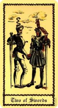 Two of Arrows Tarot Card - Medieval Scapini Tarot Deck