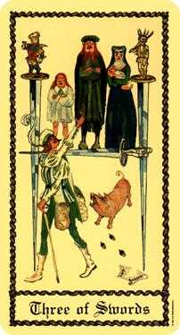 Three of Bats Tarot Card - Medieval Scapini Tarot Deck