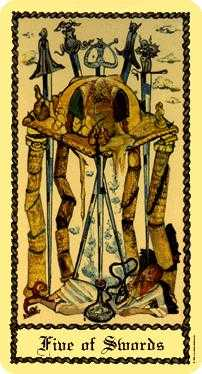 Five of Swords Tarot Card - Medieval Scapini Tarot Deck