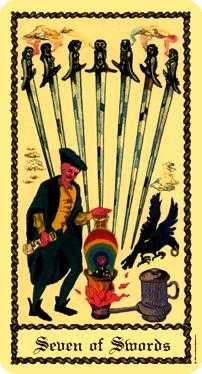 Seven of Arrows Tarot Card - Medieval Scapini Tarot Deck