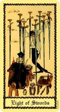 Eight of Swords Tarot Card - Medieval Scapini Tarot Deck