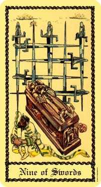 Nine of Arrows Tarot Card - Medieval Scapini Tarot Deck