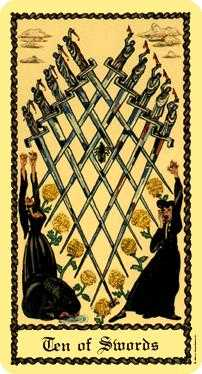 Ten of Bats Tarot Card - Medieval Scapini Tarot Deck