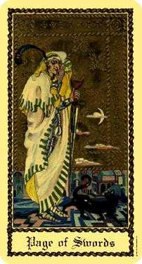 Slave of Swords Tarot Card - Medieval Scapini Tarot Deck