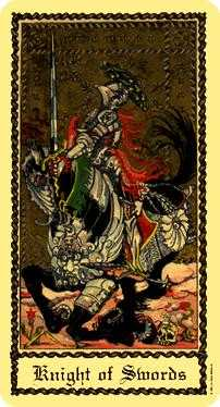 Knight of Spades Tarot Card - Medieval Scapini Tarot Deck
