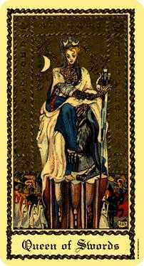 Queen of Swords Tarot Card - Medieval Scapini Tarot Deck