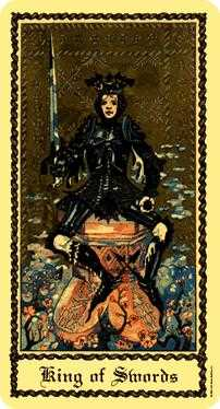Roi of Swords Tarot Card - Medieval Scapini Tarot Deck