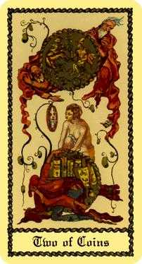 Two of Rings Tarot Card - Medieval Scapini Tarot Deck