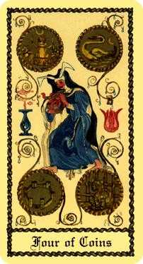 Four of Coins Tarot Card - Medieval Scapini Tarot Deck