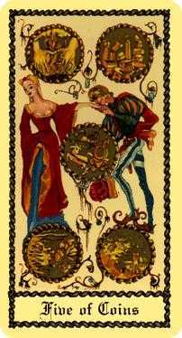 Five of Coins Tarot Card - Medieval Scapini Tarot Deck