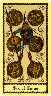 Six of Coins Tarot Card - Medieval Scapini Tarot Deck