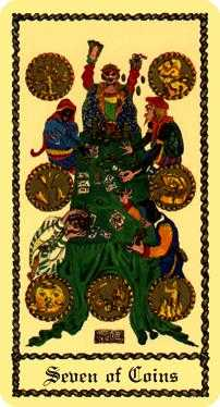 Seven of Earth Tarot Card - Medieval Scapini Tarot Deck