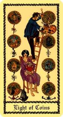 Eight of Pentacles Tarot Card - Medieval Scapini Tarot Deck