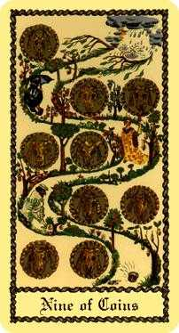Nine of Coins Tarot Card - Medieval Scapini Tarot Deck