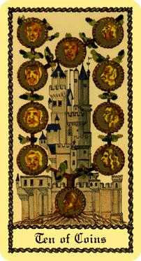 Ten of Coins Tarot Card - Medieval Scapini Tarot Deck