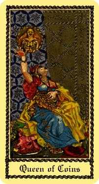 Queen of Coins Tarot Card - Medieval Scapini Tarot Deck