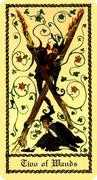 Two of Wands Tarot card in Medieval Scapini Tarot deck